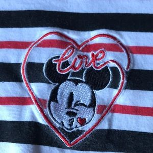 Disney Mickey Mouse heart love kiss striped tee